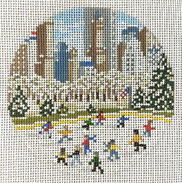 click here to view larger image of City Ice Skating Rink Ornament (hand painted canvases)