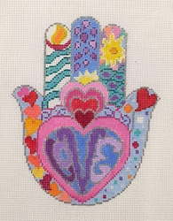 click here to view larger image of HAMSA - Hearts in Rainbow Colors (hand painted canvases)