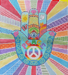 click here to view larger image of HAMSA - Peace with Border (hand painted canvases)