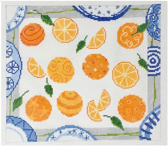 click here to view larger image of Dozens - Oranges and Plates (hand painted canvases)