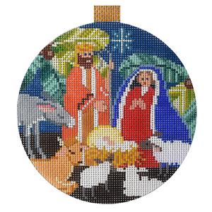 Nativity Round hand painted canvases