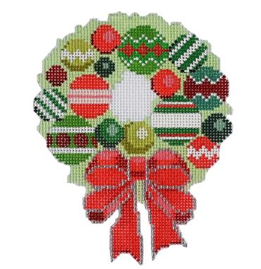 click here to view larger image of Baubles Wreath (hand painted canvases)