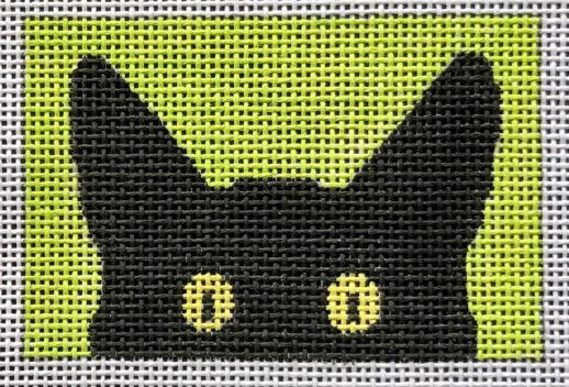 click here to view larger image of Peeky Kitty Luggage Tag (hand painted canvases)