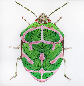 click here to view larger image of Big Bugs - Green and Pink (hand painted canvases)