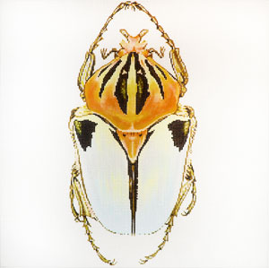 click here to view larger image of Big Bugs - White and Gold (hand painted canvases)