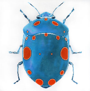 click here to view larger image of Big Bugs - Teal with Orange Dots (hand painted canvases)