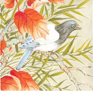 click here to view larger image of Bird with Orange Leaves (hand painted canvases)