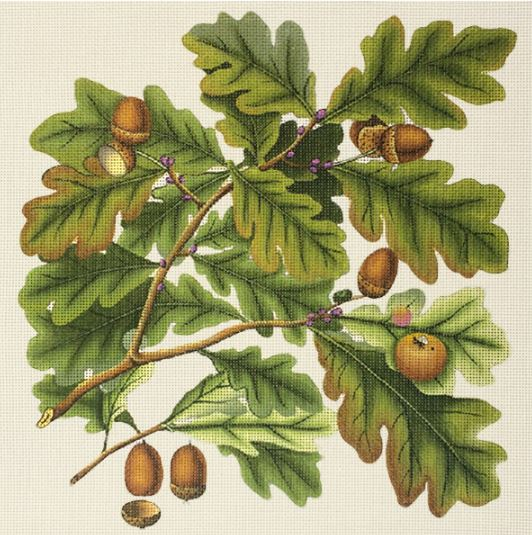 click here to view larger image of Oak Leaves and Acorns (hand painted canvases)