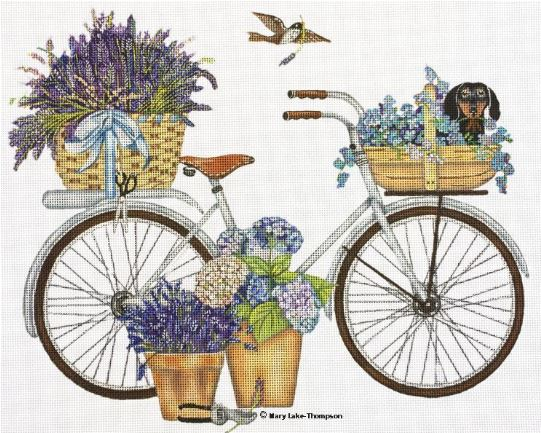 click here to view larger image of Lavender Bike (hand painted canvases)