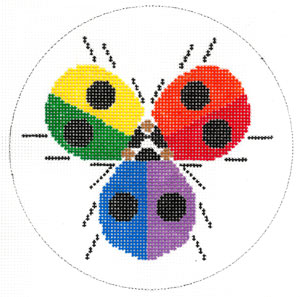 click here to view larger image of Ladybug Rainbow (hand painted canvases)