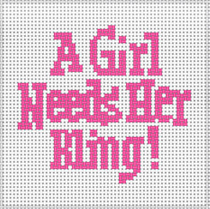 click here to view larger image of A Girl Needs Her Bling (hand painted canvases)
