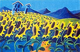 click here to view larger image of Hiding in the Sunflowers (hand painted canvases)