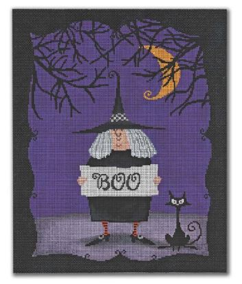 click here to view larger image of BOO - Witch w/Cat  (hand painted canvases)