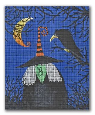 click here to view larger image of Witch w/Black Bird  (hand painted canvases)