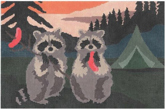 click here to view larger image of Camping Raccoons (hand painted canvases)