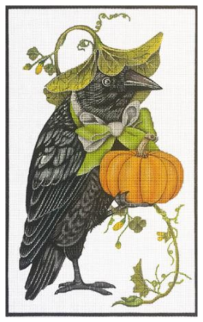 click here to view larger image of Crow with Pumpkin (hand painted canvases)
