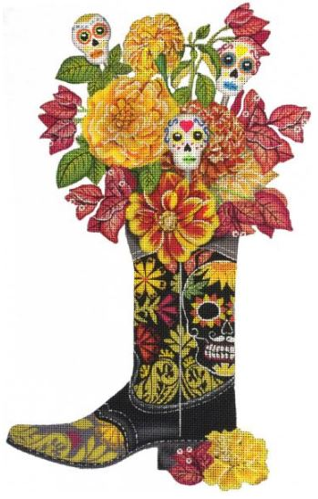 click here to view larger image of Day of the Dead Boot (hand painted canvases)