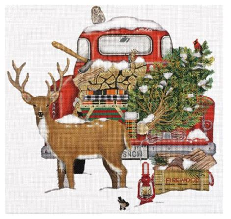 Red Snow Truck with Deer hand painted canvases