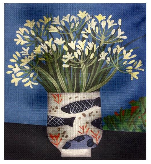 click here to view larger image of Agapanthus in Fish Pot (hand painted canvases)