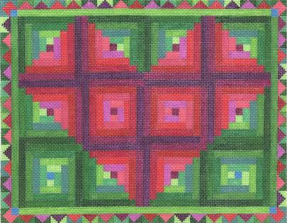 click here to view larger image of Log Cabin Heart Quilt (hand painted canvases)