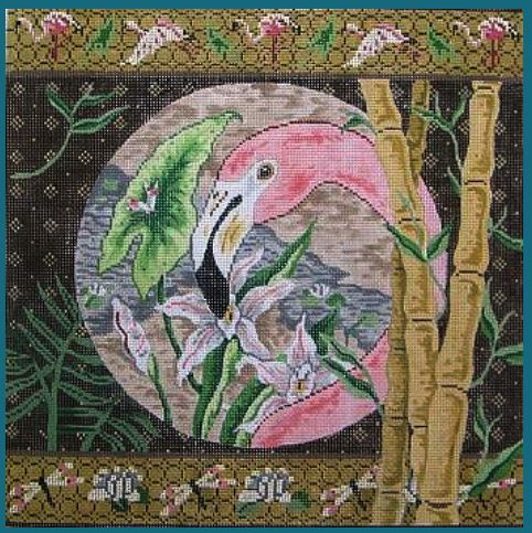 click here to view larger image of Flamingo & Bamboo/ Dragonfly & Flamingos Borders (hand painted canvases)
