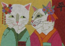 click here to view larger image of Geisha Cat (hand painted canvases)