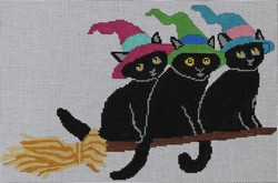click here to view larger image of 3 Cats on a Broom (hand painted canvases)