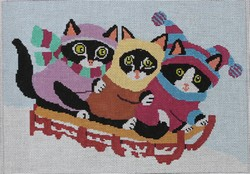 click here to view larger image of 3 Cats Sledding (hand painted canvases)