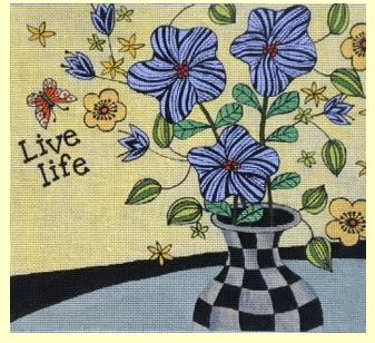 click here to view larger image of Live Life (hand painted canvases)