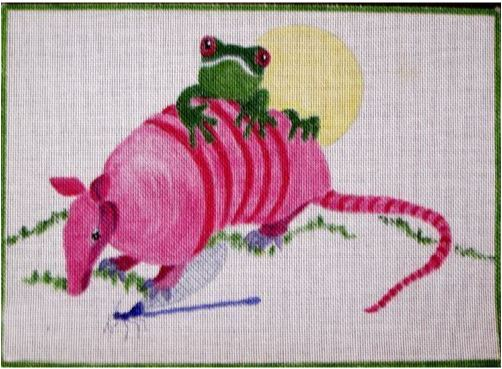 click here to view larger image of Armadillo and Frog (hand painted canvases)