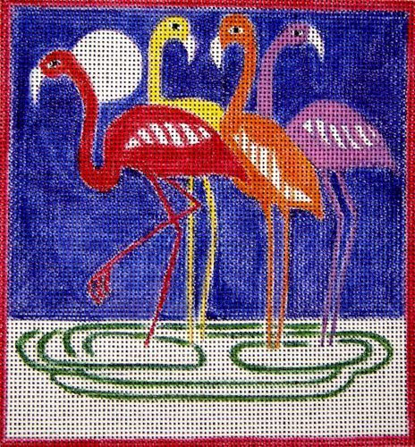 click here to view larger image of Fauve Flamingos (night sky) (hand painted canvases)