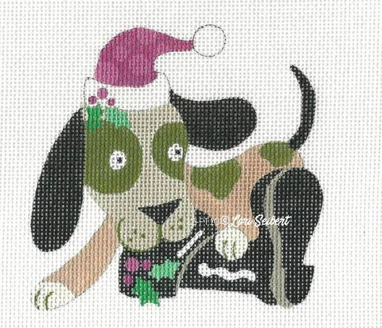 click here to view larger image of Dog and Santas Boot (hand painted canvases)