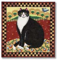 click here to view larger image of Folk Art Cat (hand painted canvases)