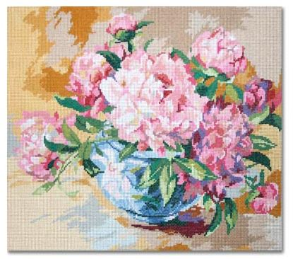 click here to view larger image of Peonies in Bowl  (hand painted canvases)