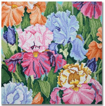 click here to view larger image of Iris Paradise (hand painted canvases)