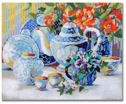 click here to view larger image of Blue & White Tea Time  (hand painted canvases)
