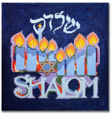 click here to view larger image of Festival of Lights - Shalom  (hand painted canvases)