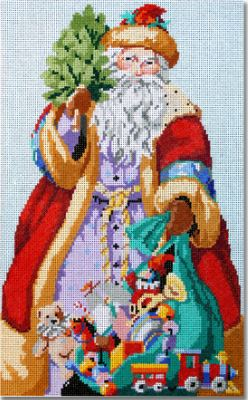 click here to view larger image of Jolly Santa & Toys  (hand painted canvases)