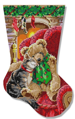 click here to view larger image of Friendship Stocking (hand painted canvases)