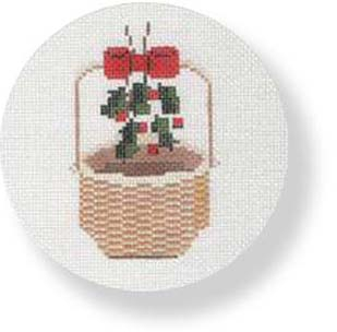 click here to view larger image of Nantucket Basket-Holly and Ribbon Handle  (hand painted canvases)