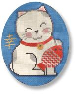 click here to view larger image of Lucky Cat with Fish  (hand painted canvases)