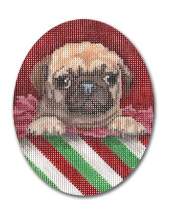 click here to view larger image of Christmas Pug (hand painted canvases)