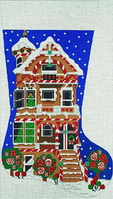 click here to view larger image of Gingerbread House Stocking (hand painted canvases)