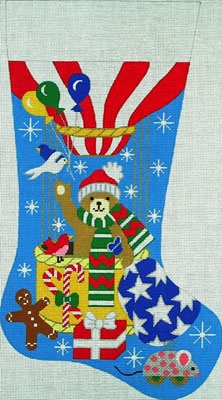 click here to view larger image of Hot Air Balloon Stocking (hand painted canvases)