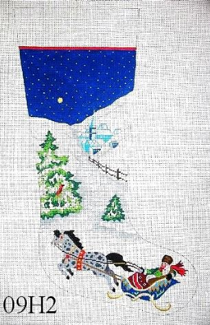 click here to view larger image of Couple in Sleigh/ Village Night Snow Scene (hand painted canvases)