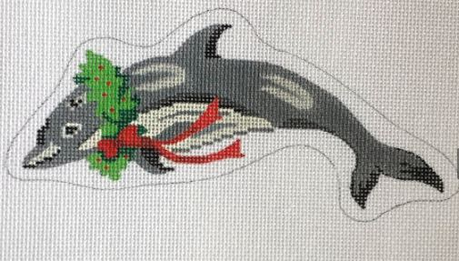 click here to view larger image of Dolphin and Wreath (hand painted canvases)