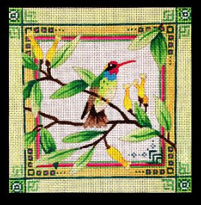 click here to view larger image of Hummingbird/ Lime Green Border (hand painted canvases)