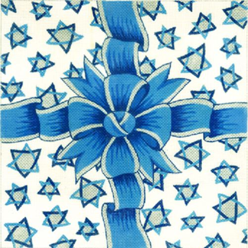 click here to view larger image of Blue/Silver Ribbon w/Jewish Stars (hand painted canvases)
