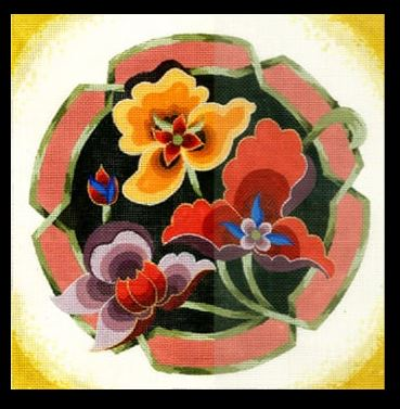 click here to view larger image of Large Chinese Floral (hand painted canvases)