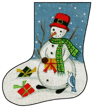 click here to view larger image of Mini Stocking - Snowman w/Package (hand painted canvases)